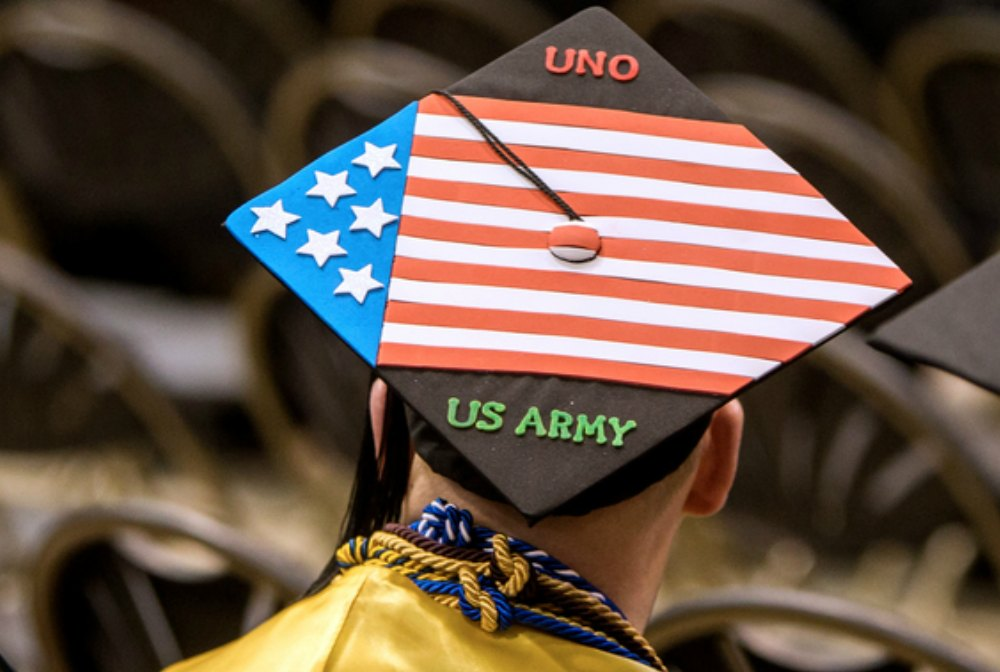 UNO military student at commencement