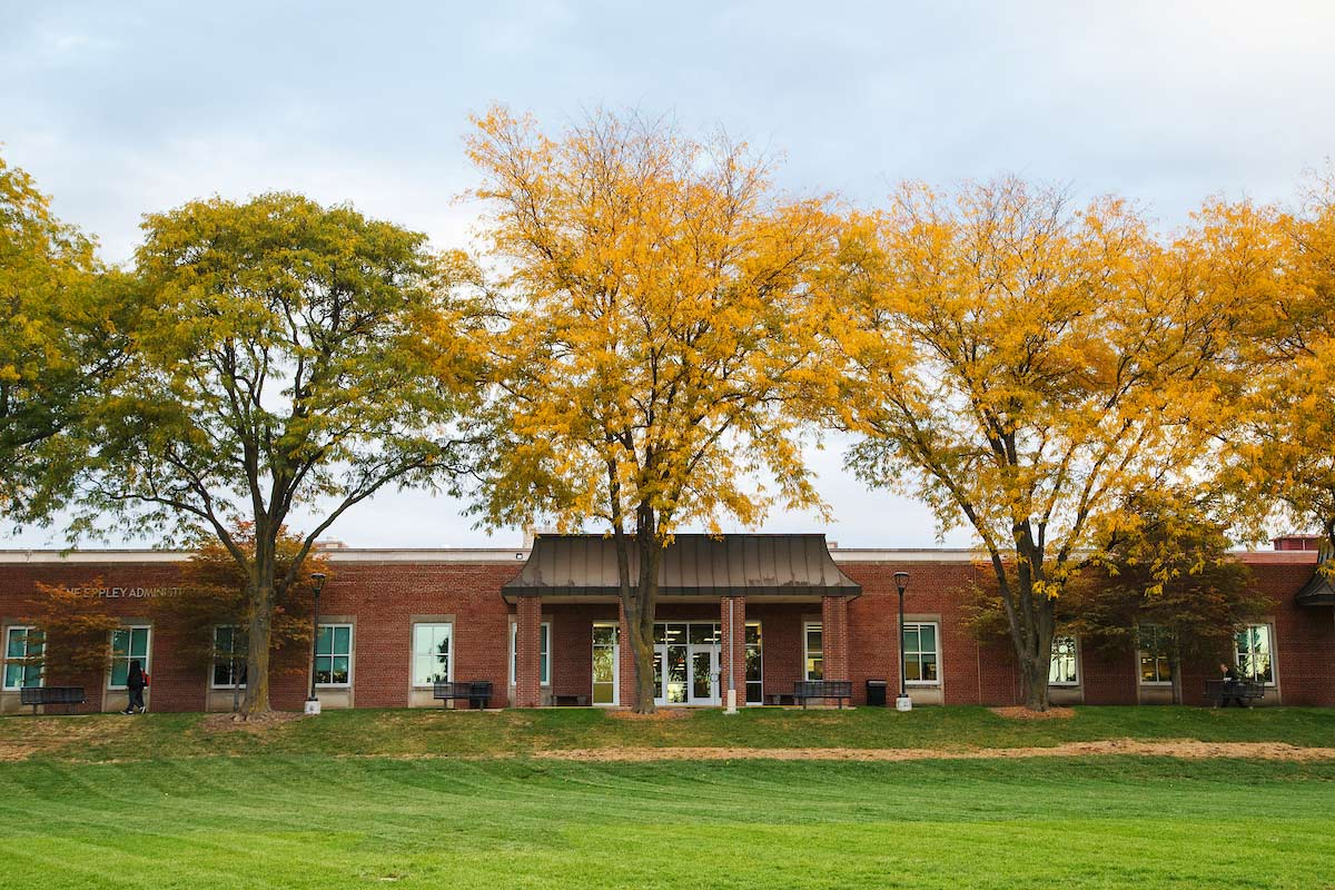A photo of the Eppley Administration Building in the fall.