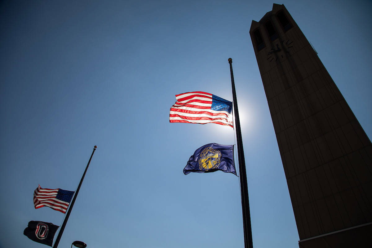 campus flags lowered on September 11