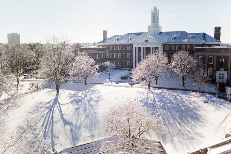 UNO's Arts and Sciences Hall after a snowfall
