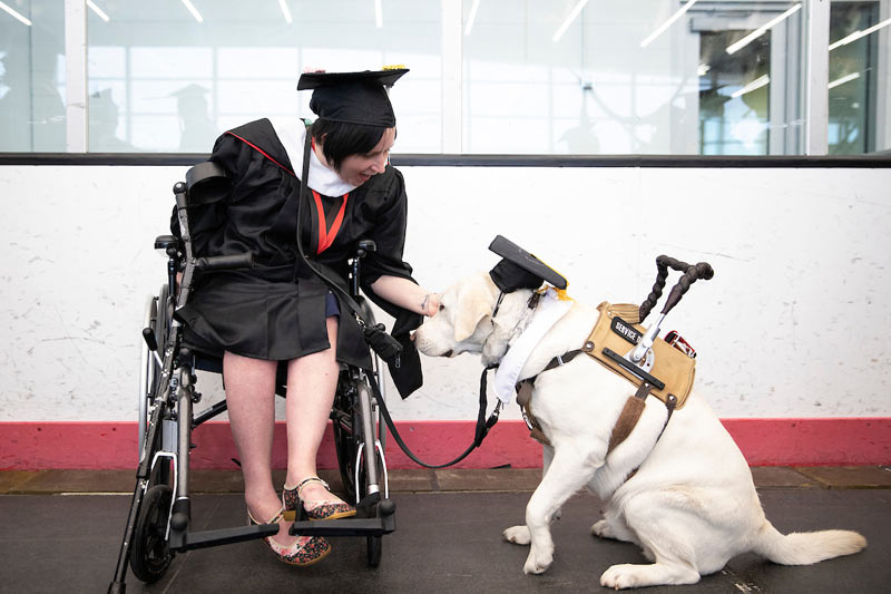 student and service dog