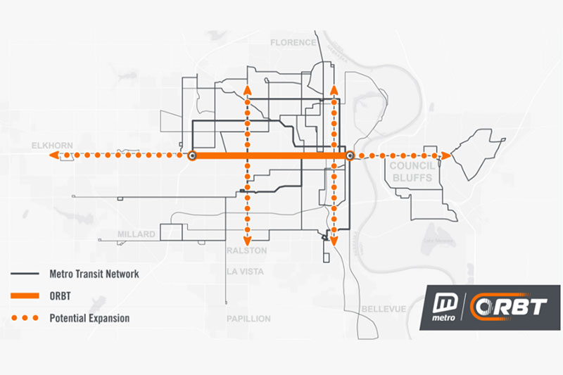 Potential Future Orbt Routes Running North And South Connecting Other Areas Of Omaha Are Shown Here The First Route Will Run Along Dodge Street And Will