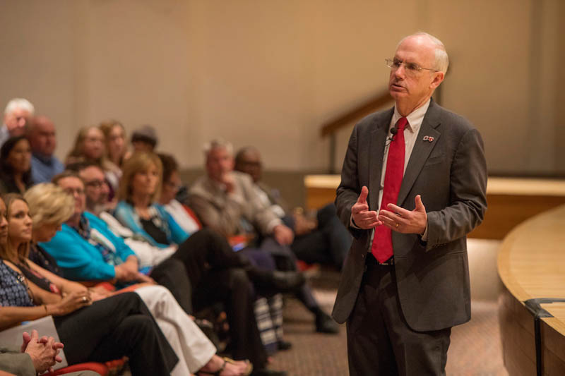 Chancellor Gold speaks with campus during a town hall forum