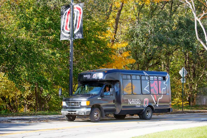 UNO-branded shuttle travels campus