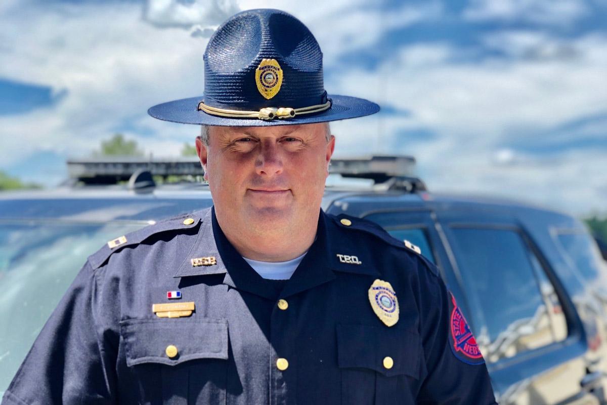 Portrait of Tyler Schmidt in his Nebraska State Patrol uniform
