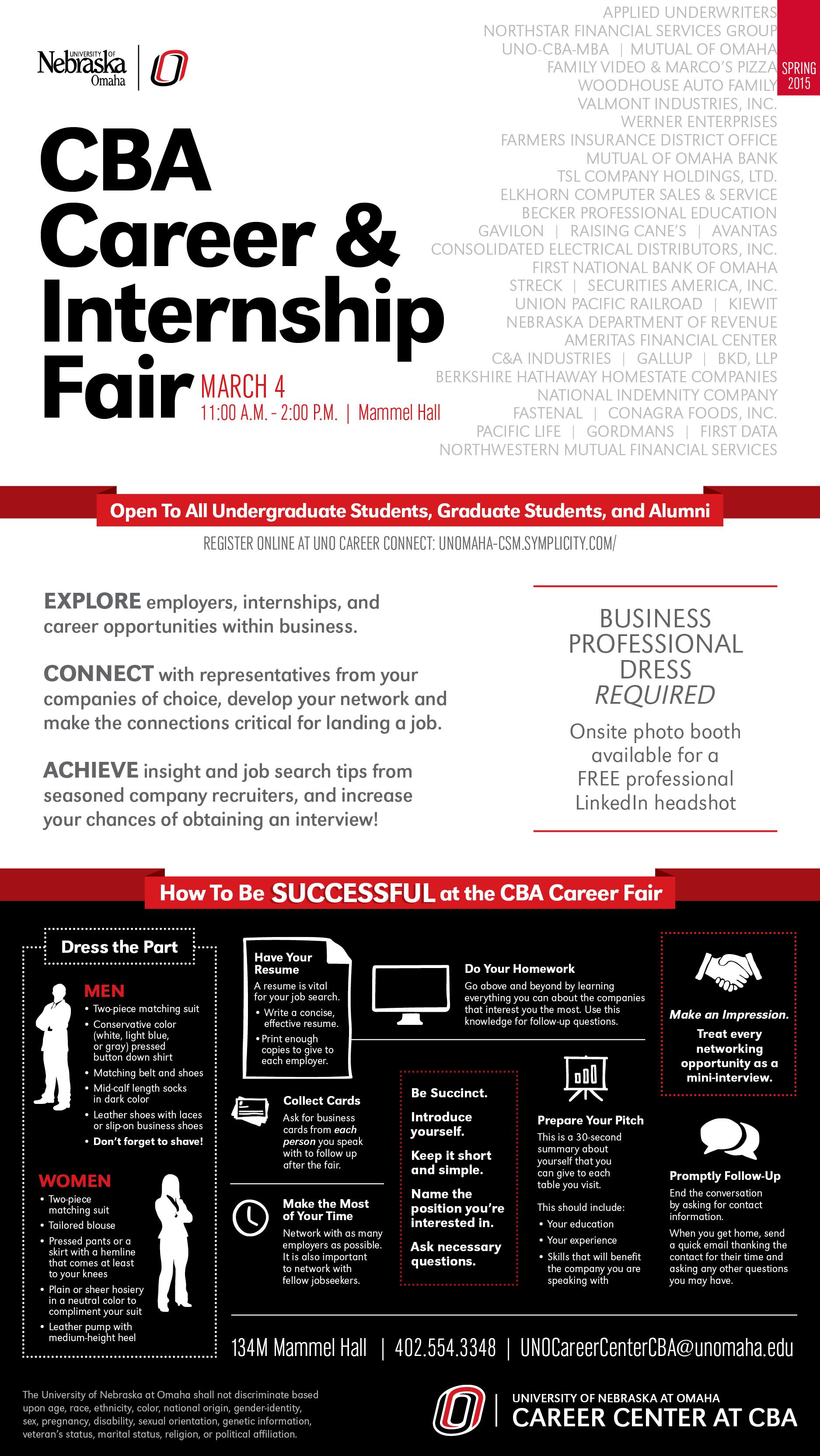 spring 2015 cba career internship fair college of business spring 2015 cba career internship fair