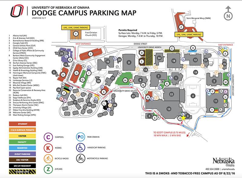 Directions and Parking | Biomechanics | University of Nebraska Omaha