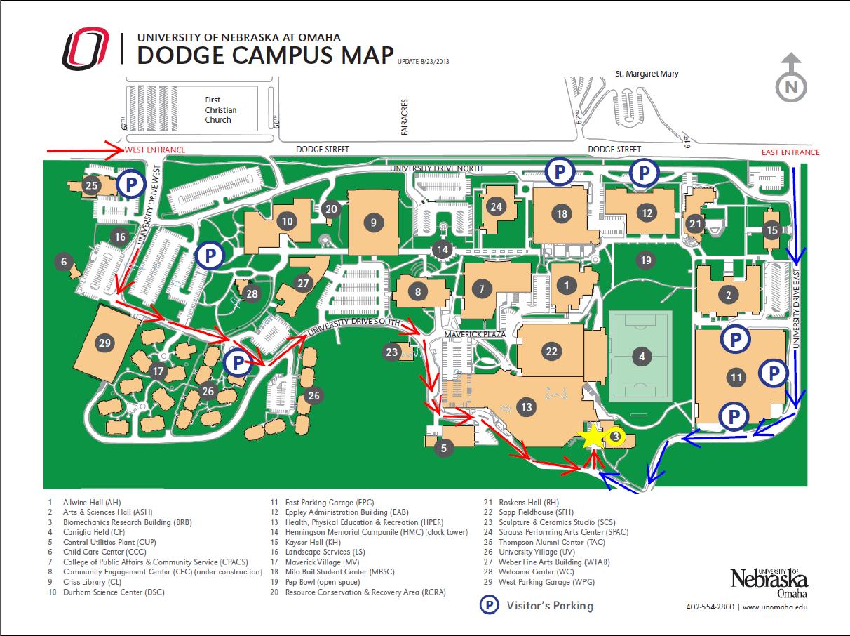 Uno campus map cyndiimenna for Location parking