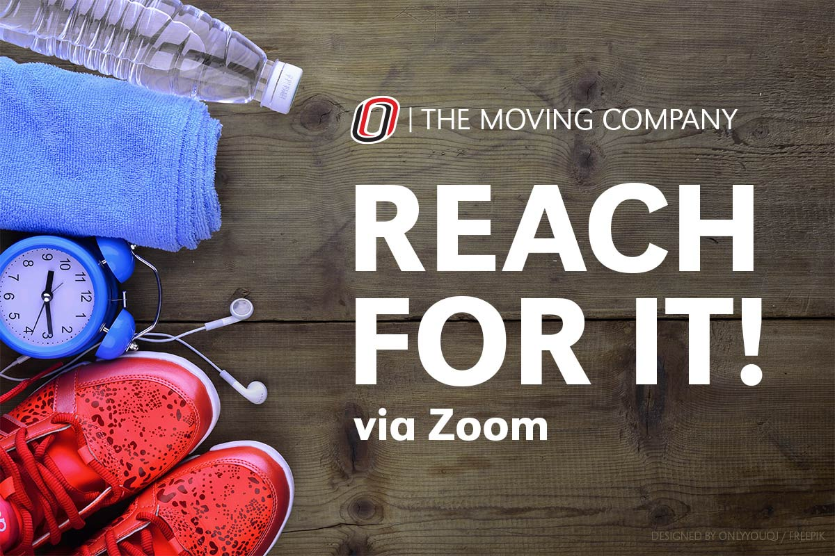 Workout equipment with the text Reach For It via Zoom event