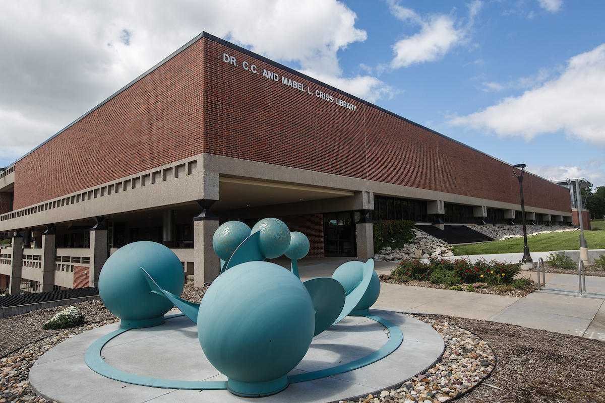 exterior image of Criss Library with blue sculpture