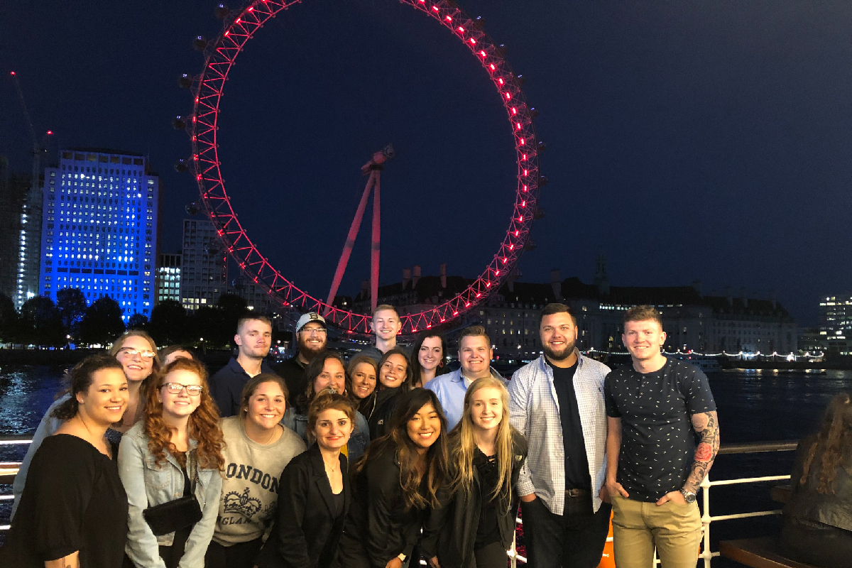 Comparative Criminal Justice students enjoying an evening on the Thames near the London Eye.