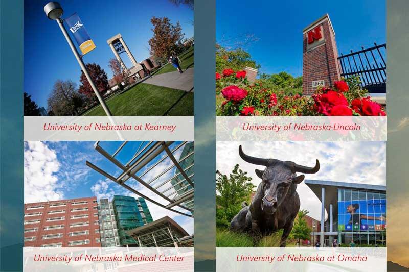 Exterior of University of Nebraska's all four campuses