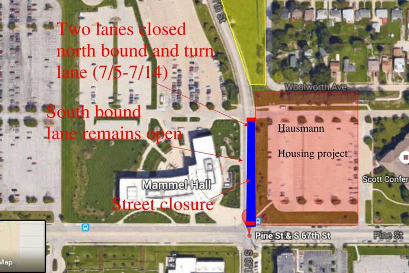 Lane Closure Near Pacific Campus News University Of Nebraska Omaha