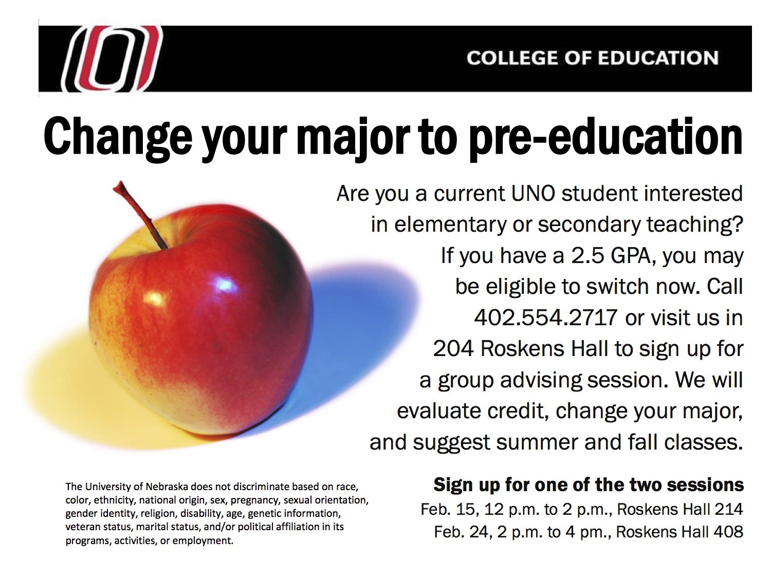 Change of Major Sessions for Pre-Education Majors   News