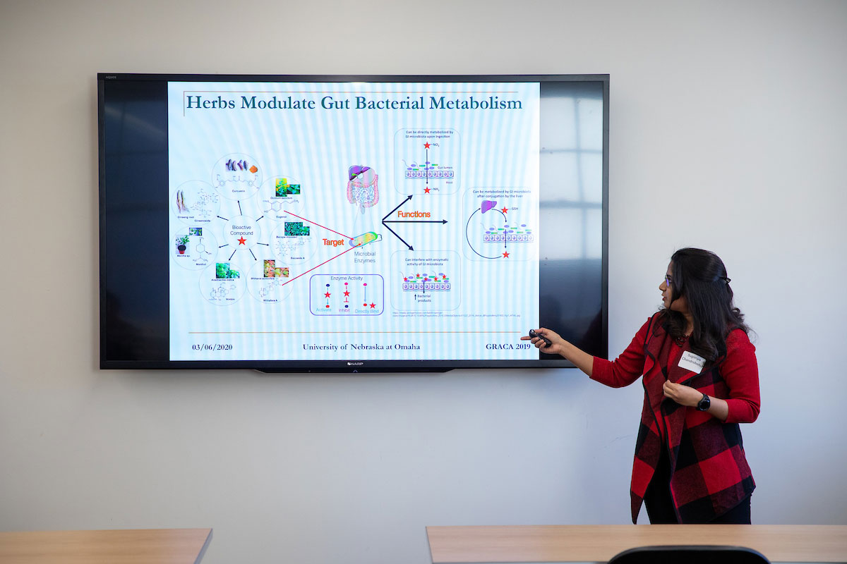 A student presents her work during an oral presentation at the 2020 Student Research and Creative Activity Fair