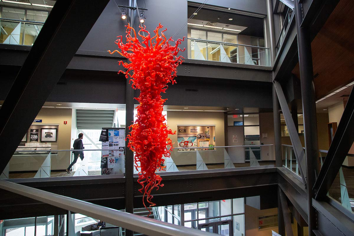 """""""Toreador Red"""" hangs from the ceiling in PKI"""