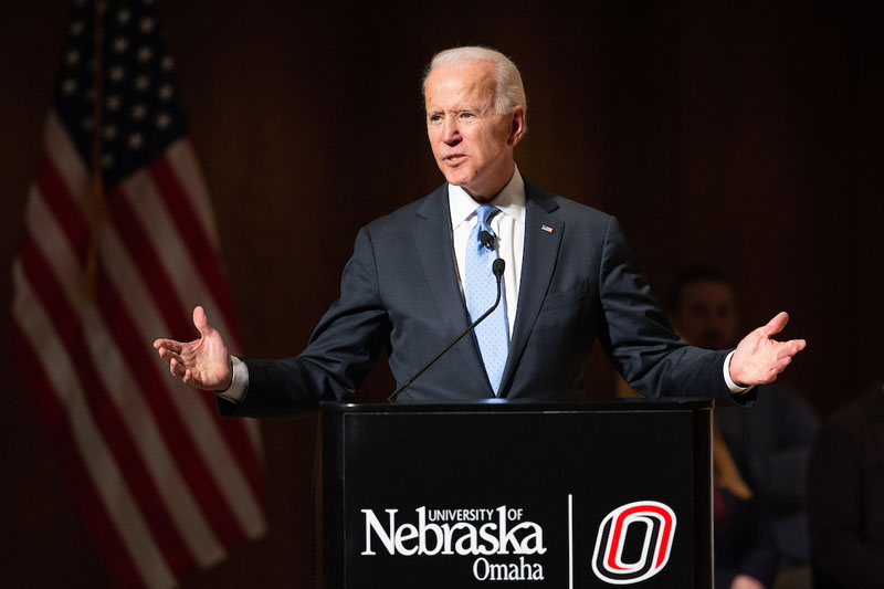 Vice President Joe Biden speaks to a crowd at Strauss Performing Arts Center