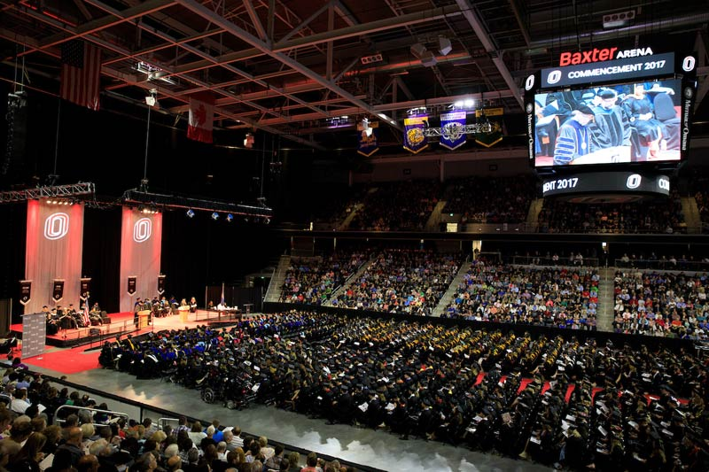 commencement at Baxter Arena