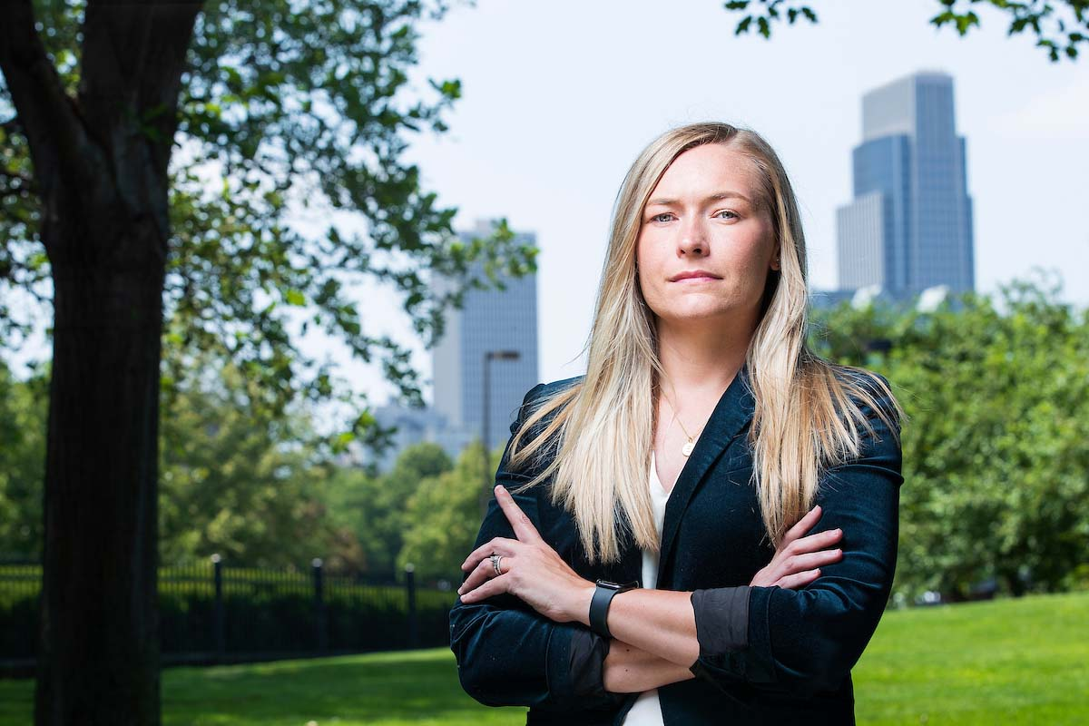 Jessica Barry, who is the Software Integration and Testing Manager at Conagra Brands, poses for pictures on the company's campus in downtown Omaha.