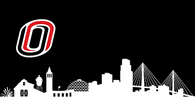click to download the zoom background uno logo with omaha skyline